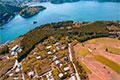 ヘリコプターから眺める芦ノ湖、海賊船