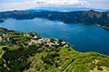 ヘリコプターから眺める芦ノ湖