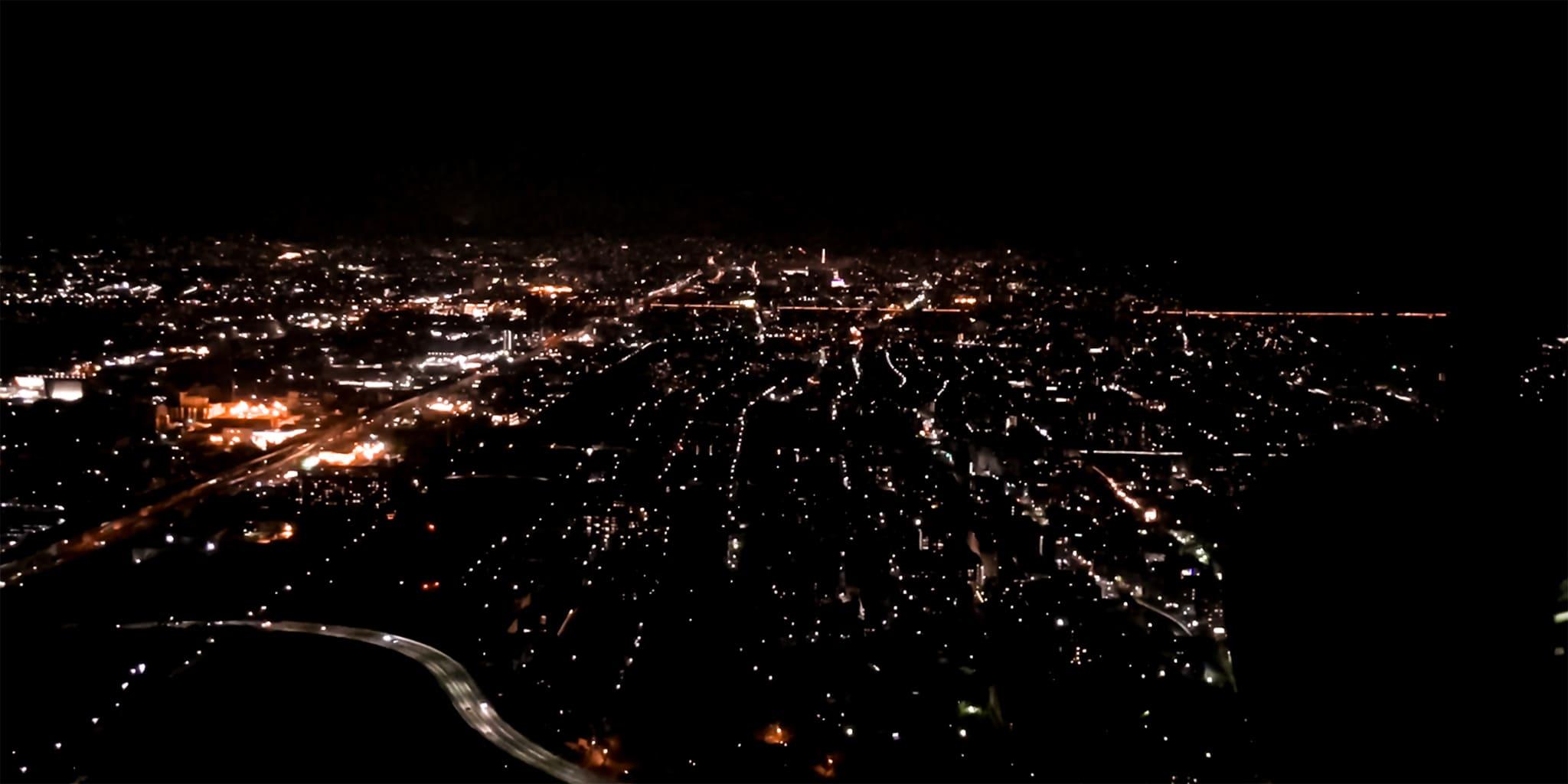 ヘリコプターで京都市内上空から見た京都市内夜景