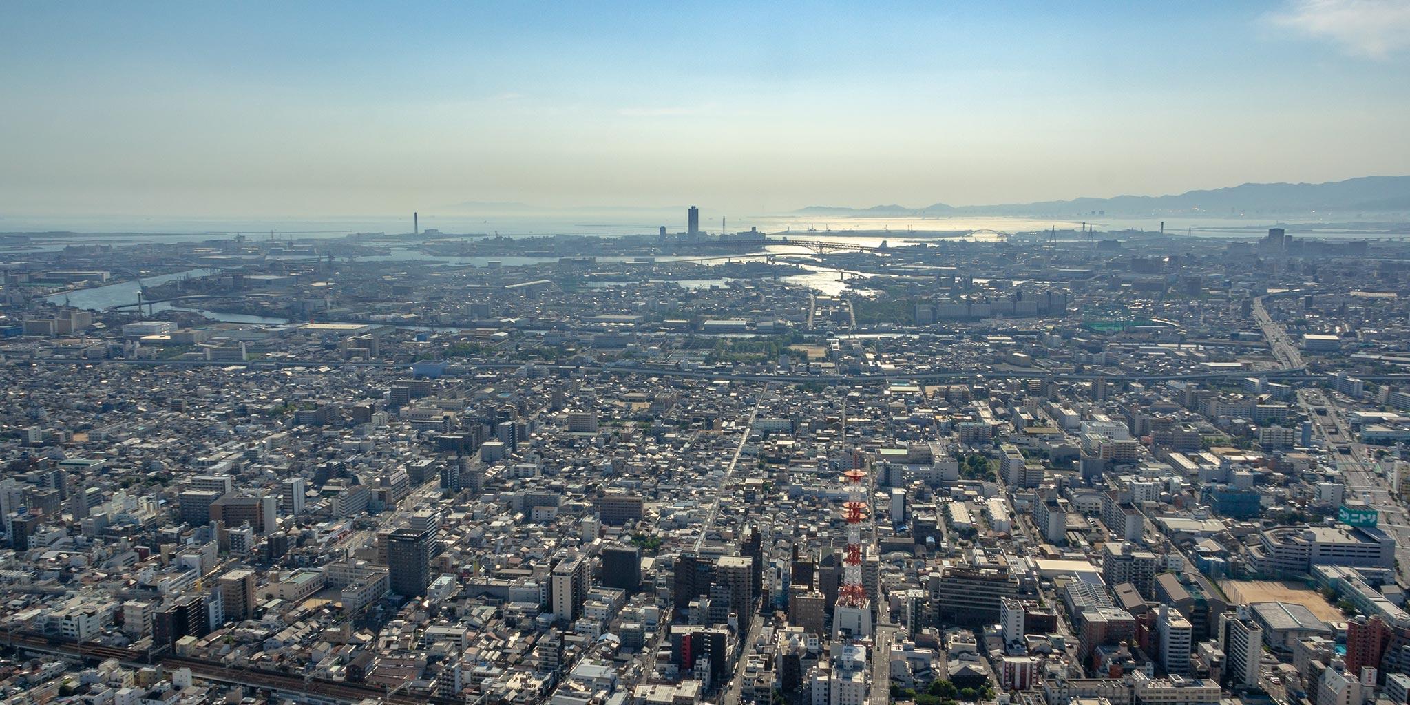 セスナで上空から見た大阪港
