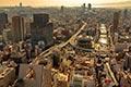 セスナで上空から見た大阪の街並み