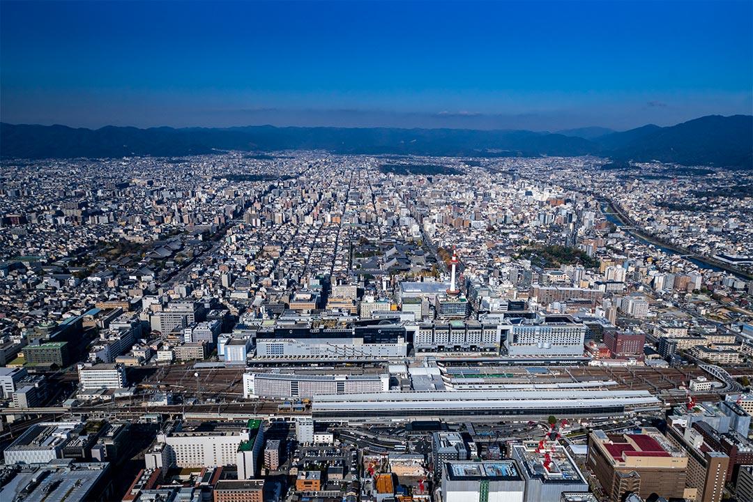 セスナで上空から見た京都駅