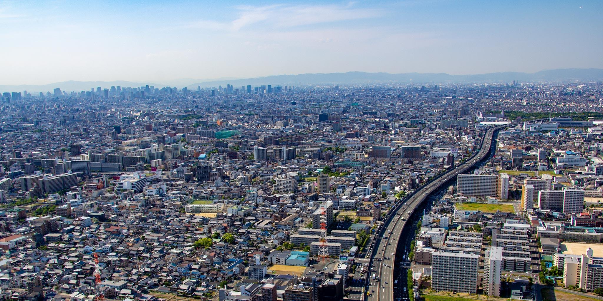 セスナで上空から見た大阪平野