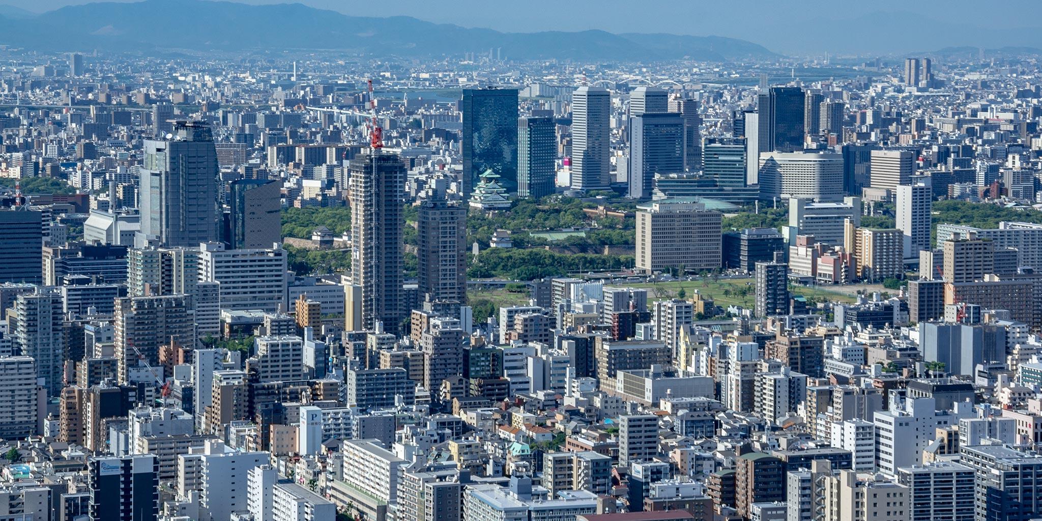 セスナで上空から見た大阪城