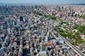 セスナで上空から見た新世界の街並み