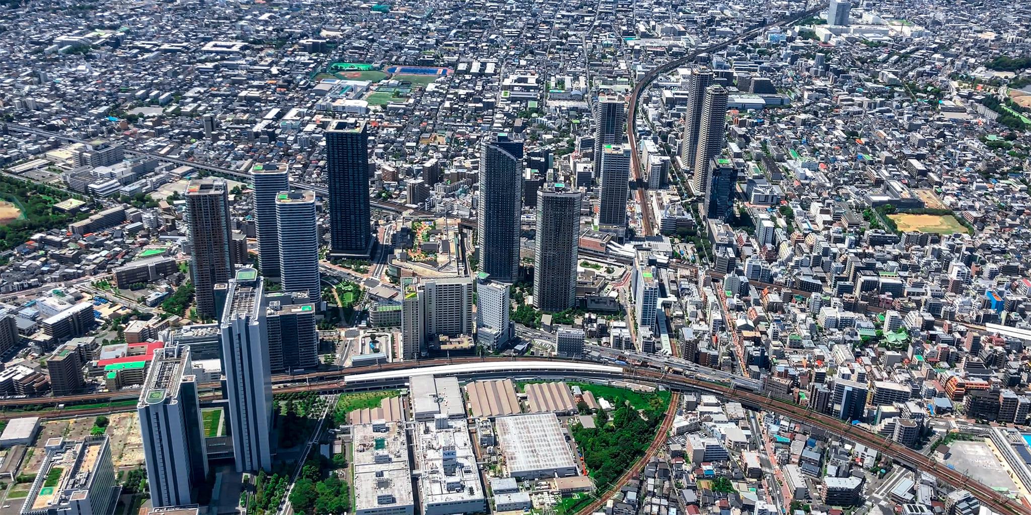 ヘリコプターで東京上空をフライトして見える武蔵小杉