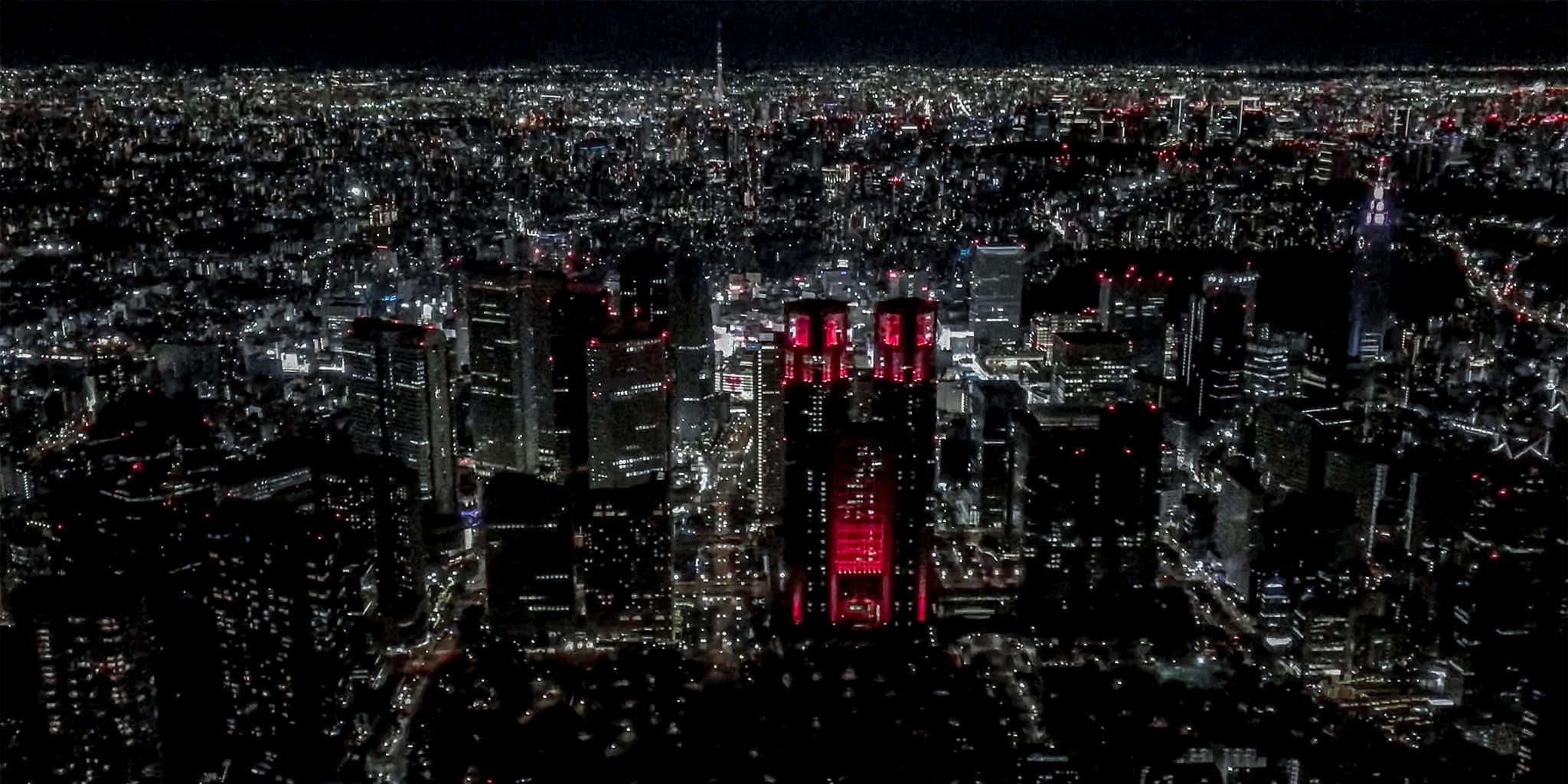 ヘリコプターで東京上空をフライトして見える新宿