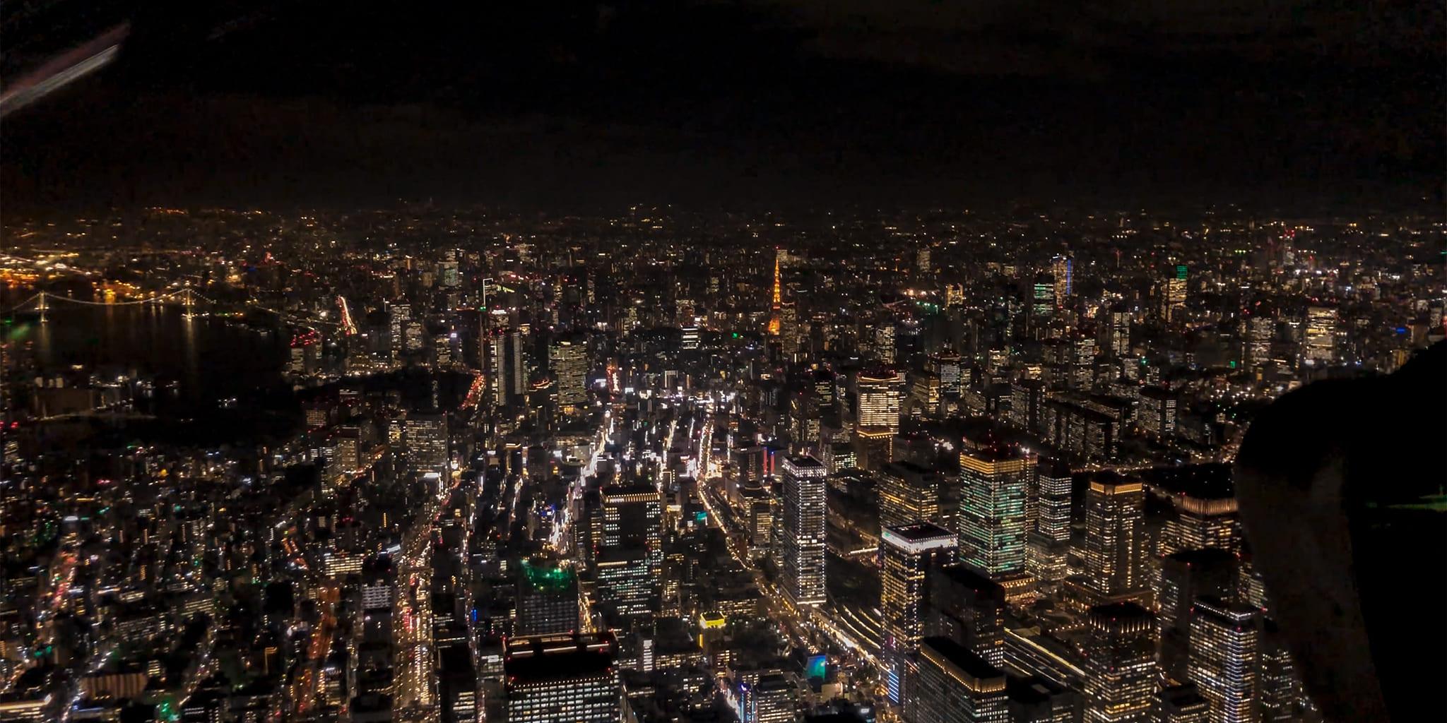 ヘリコプターで東京上空をフライトして見える東京
