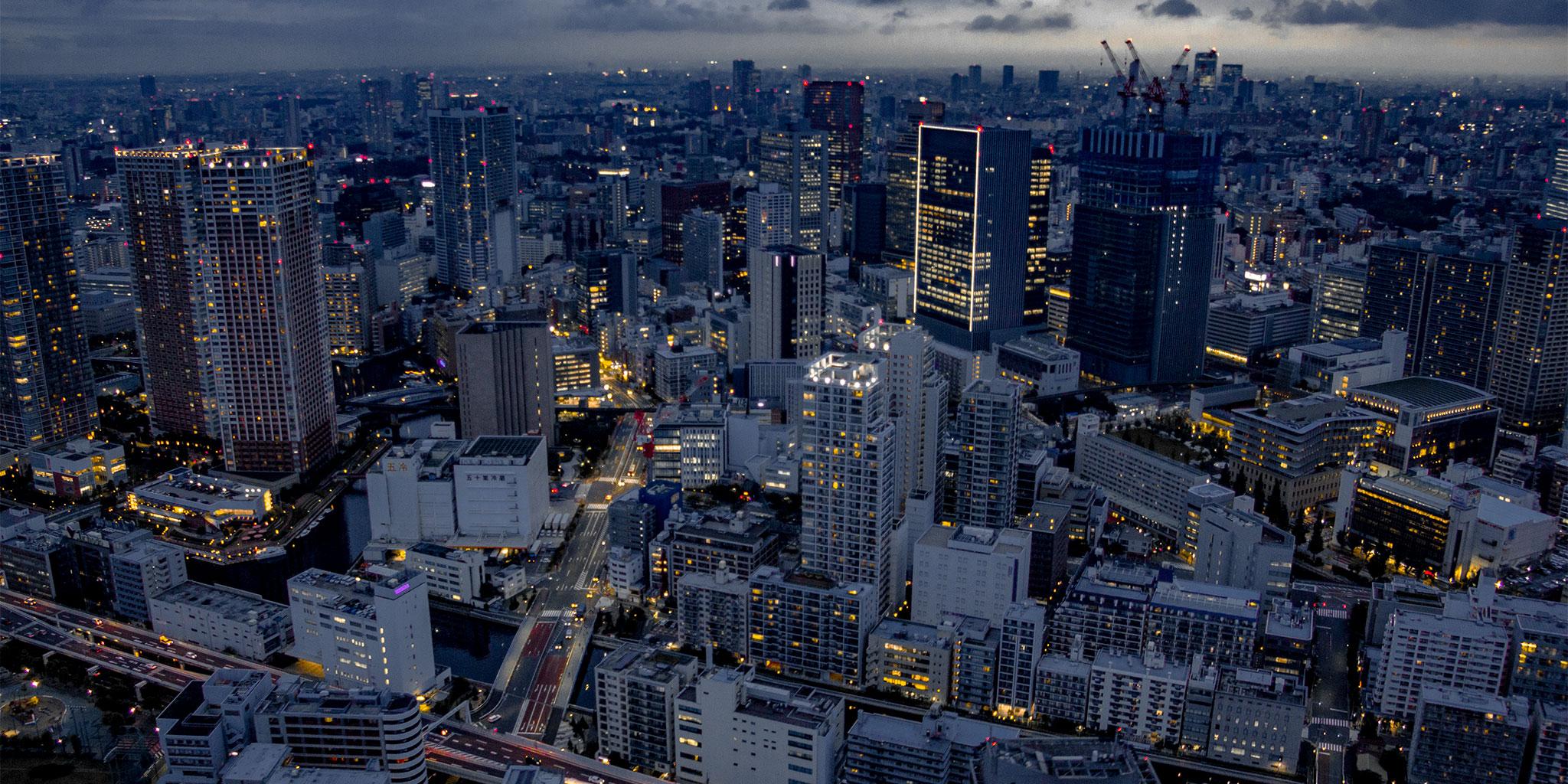 東京都内の日の出の様子