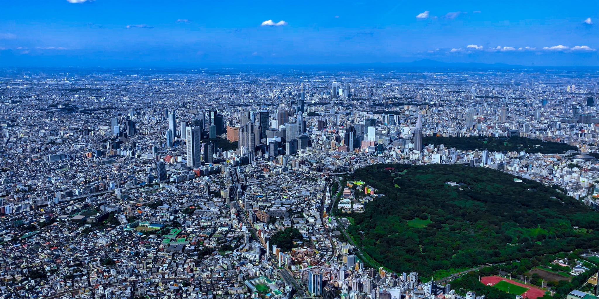 ヘリコプターで東京上空をフライトして見える新宿、代々木公園
