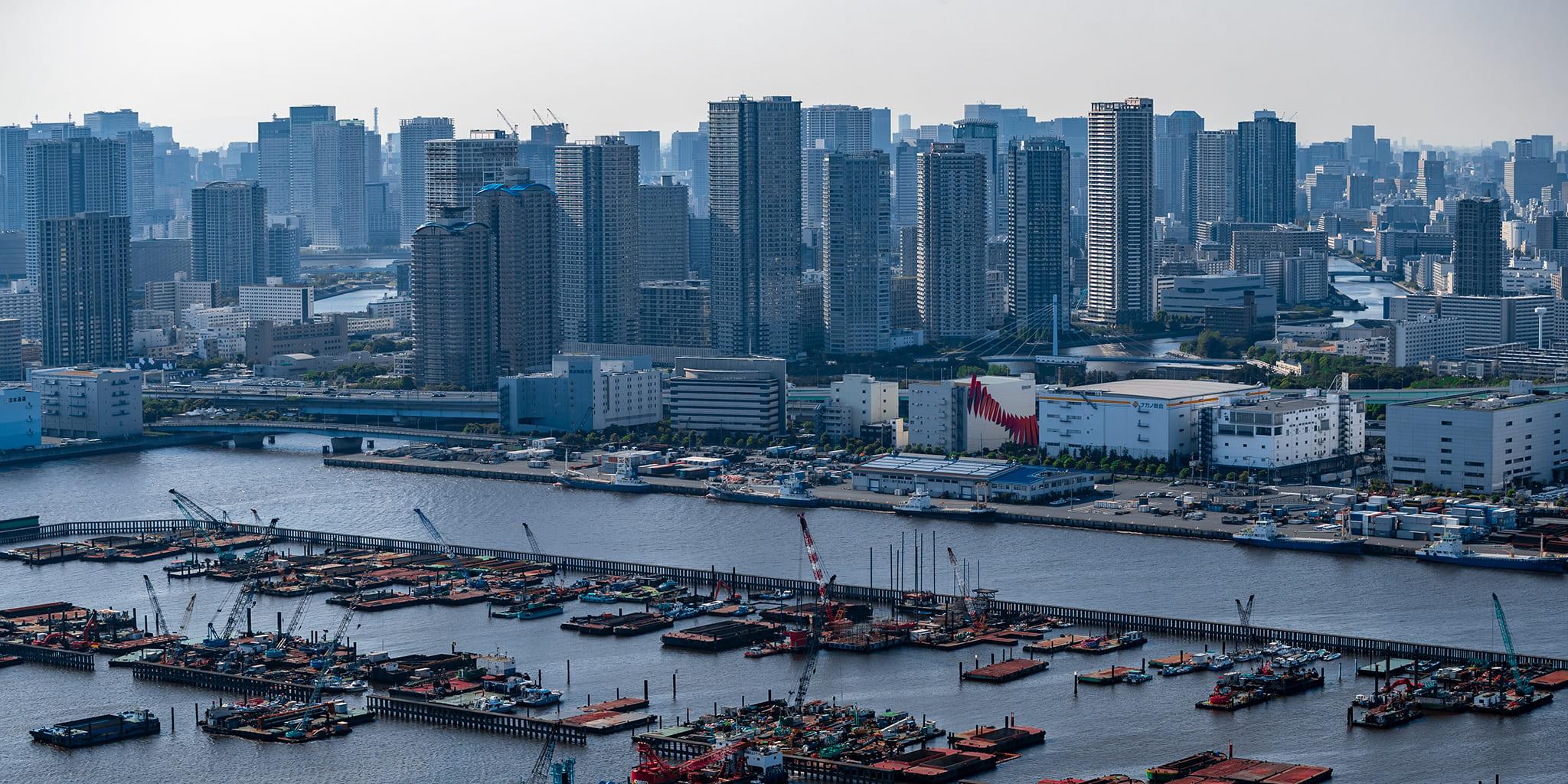 ヘリコプターで東京上空をフライトして見える東京湾