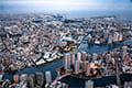 ヘリコプターで東京上空をフライトして見える佃