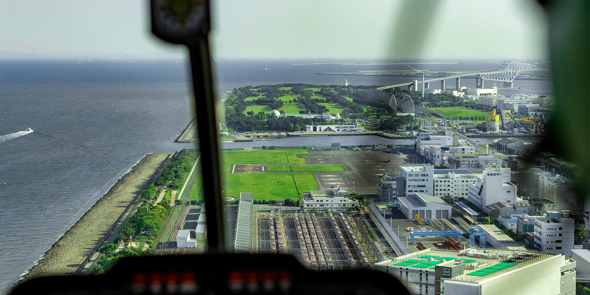 ヘリコプターで東京上空をフライトして見える東京ヘリポート