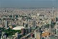 ヘリコプターで東京上空をフライトして見える後楽園