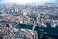 ヘリコプターで東京上空をフライトして見える築地