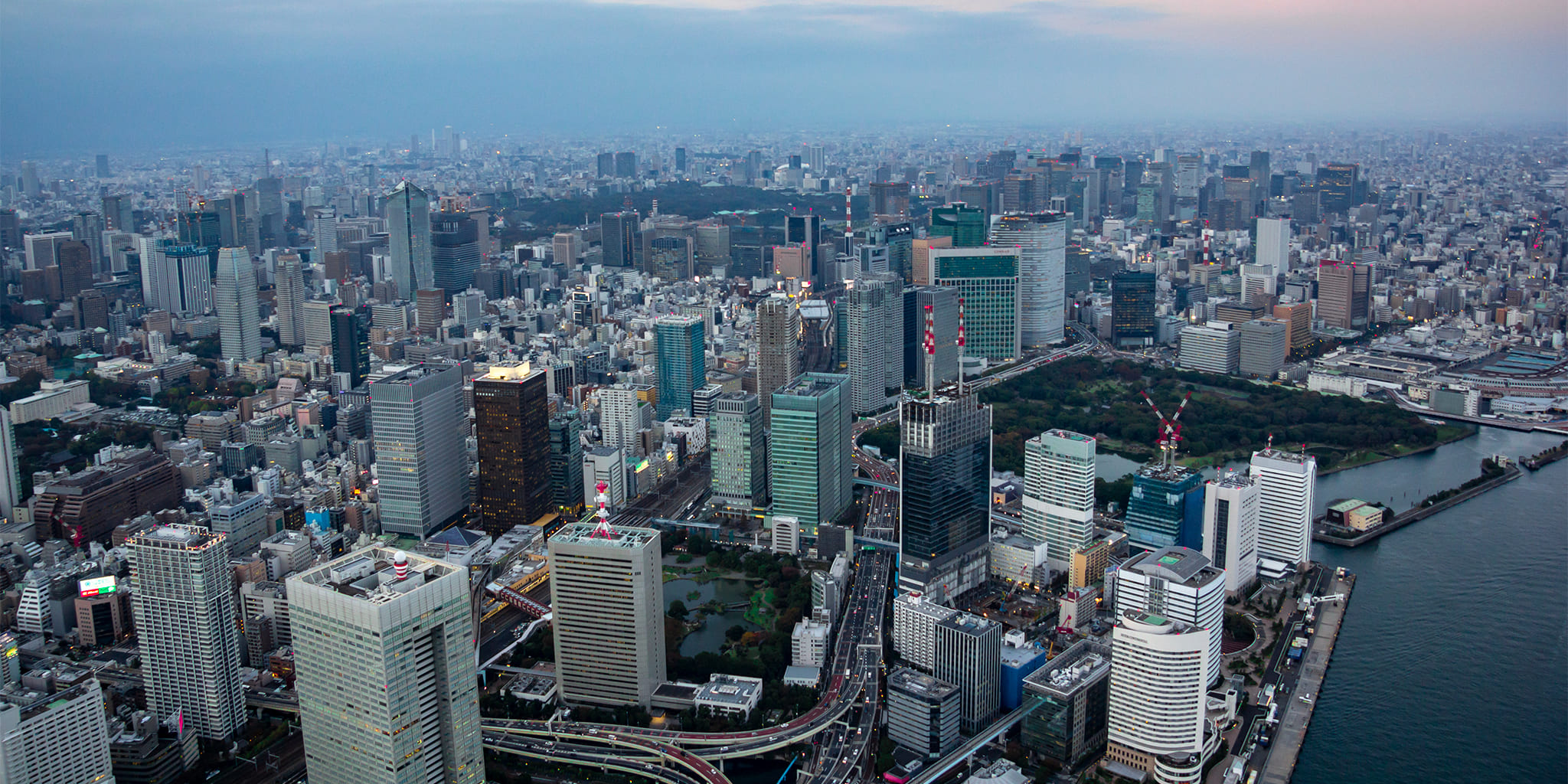 ヘリコプターで東京上空をフライトして見える竹芝